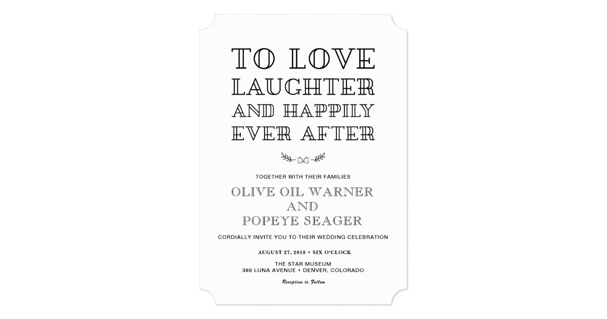 Love, Laughter, and Happily Ever After Wedding Invitation ...  Love, Laughter,...