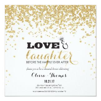 Love & Laughter Gold Glitter Rehearsal Invite