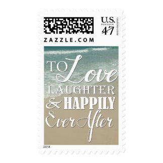 Love Laughter Happily Ever After Beach Wedding Postage