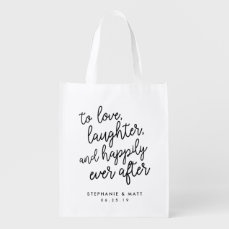 Love, Laughter & Happily Ever After Wedding Favor Grocery Bag
