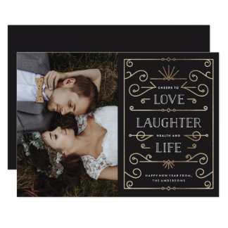 Love Laughter Life New Year Holiday Photo Card