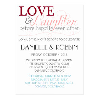 Love & Laughter Rehearsal Invitation Postcards