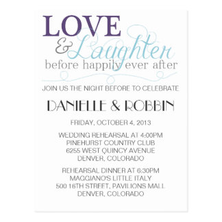 Love & Laughter Rehearsal Invitation Post Cards