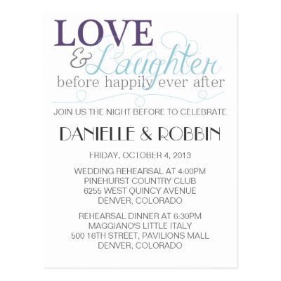 Postcard Design By Theziners For Post Card Invitation To Wedding Rehearsal Dinner And After Party