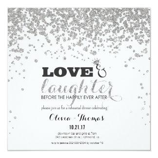 Love & Laughter Silver Glitter Rehearsal Invite