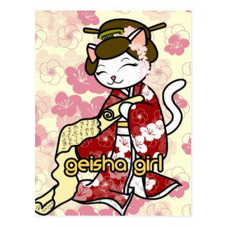 Love Letter Geisha Kitty Postcard