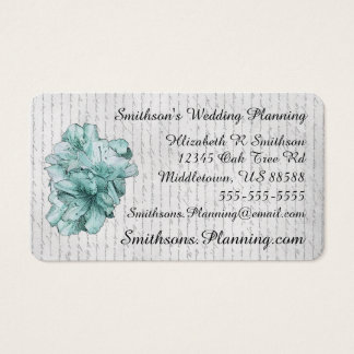 Love Letter Mint Illustrated Flower Customize Name Business Card