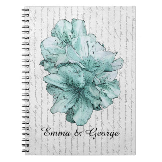 Love Letter Mint Illustrated Flower Customize Name Spiral Note Book