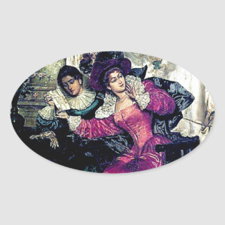 Love letter painting oval sticker