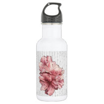 Love Letter Pink Illustrated Flower Customize Name Water Bottle