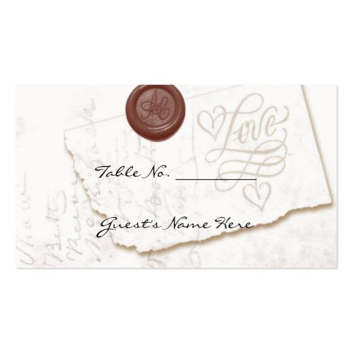 Love Letter Wedding Table Seating Cards Business Card