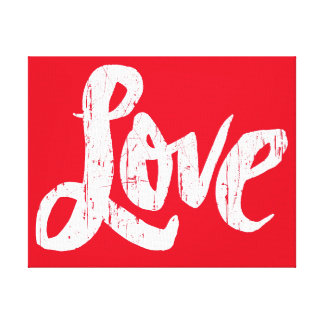 LOVE Lettering Red Hippie Valentine Canvas