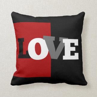 LOVE letters (black, white, gray, crimson) Throw Pillow