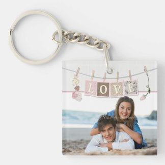 Love Letters, Roses, Add Photo Single-Sided Square Acrylic Keychain