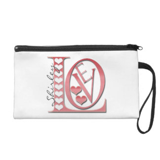 Love Letters with Hearts by Shirley Taylor Wristlet
