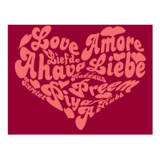 Love Liebe Amour in all Languages Postcard