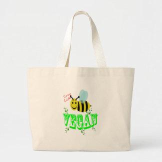 love life bee vegan large tote bag