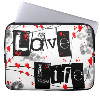 Love Life black,red,hearts,dots text laptop case