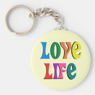 LOVE LIFE! customizable christian message Basic Round Button Keychain