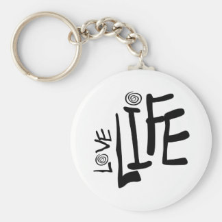 Love Life In Funky Font With Swirls, Black Basic Round Button Keychain