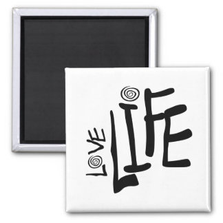 Love Life In Funky Font With Swirls, Black 2 Inch Square Magnet