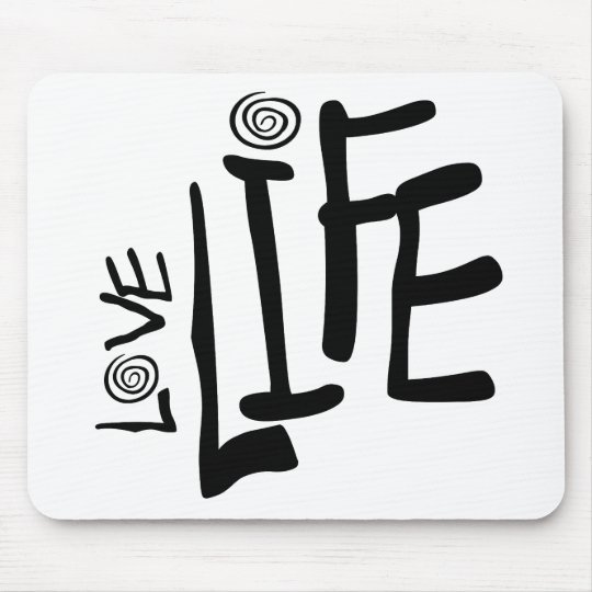 Love Life In Funky Font With Swirls, Black Mouse Pad