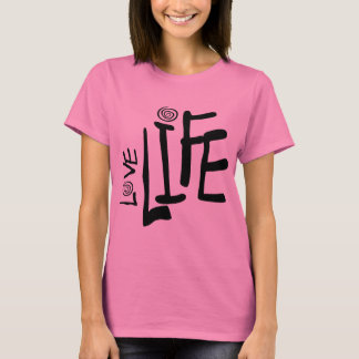 Love Life In Funky Font With Swirls, Black T-Shirt