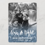 "Love & Light Bokeh Hanukkah Photo Card<br><div class=""desc"">Send your Hanukkah greetings in style with these beautiful cards. Blue bokeh backdrop fades into your family photo, with a sweet message of ""Love & Light"" in white brushstroke typography. Personalize with your family name and the year, and customize the greeting as well, if you wish. Photography © Storytree Studios,...</div>"
