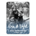 Love &amp; Light Bokeh Hanukkah Photo Card<br><div class='desc'>Send your Hanukkah greetings in style with these beautiful cards. Blue bokeh backdrop fades into your family photo, with a sweet message of &quot;Love &amp; Light&quot; in white brushstroke typography. Personalize with your family name and the year, and customize the greeting as well, if you wish. Photography &#169; Storytree Studios,...</div>
