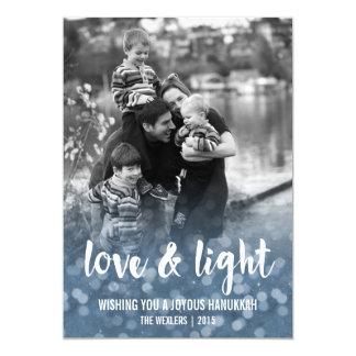 Love & Light Bokeh Hanukkah Photo Card