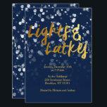 "Love & Light | Faux Foil Bokeh Hanukkah Dinner Invitation<br><div class=""desc"">A cute Hanukkah design,  features a lovely bokeh lights with the text love & light in a metallic faux foil gold texture.</div>"
