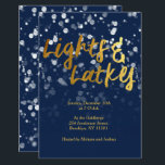 "Love & Light | Faux Foil Bokeh Hanukkah Dinner Invitation<br><div class=""desc"">A cute Hanukkah design,  features a lovely bokeh lights with the text love & light in a metallic faux foil gold texture.</div>"