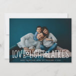 "Love, Light & Latkes | Hanukkah Photo Card<br><div class=""desc"">Cute and lighthearted Hanukkah photo card features your favorite horizontal or landscape oriented photo with ""love,  light,  latkes"" overlaid in white lettering accented with stars of David. Personalize with your Hanukkah greeting,  names and the year beneath. Cards reverse to a pattern of snow and stars on dark blue.</div>"