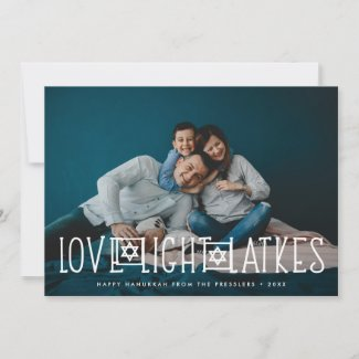 Love, Light & Latkes   Hanukkah Photo Card