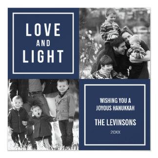 Love & Light Modern Hanukkah Card for Two Photos
