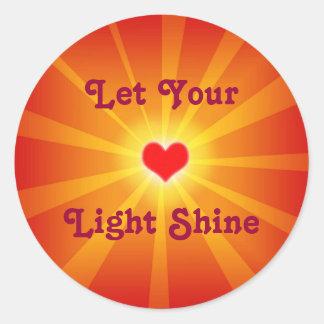 Love Light Shine Line Classic Round Sticker
