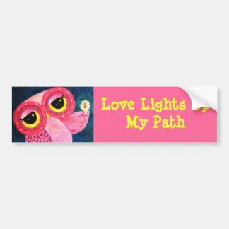 Love Lights Up My Path Owl Bumper Sticker
