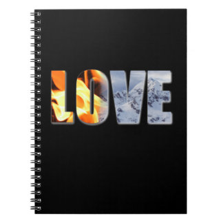 Love Like Fire Snow Spiral Photo Notebook