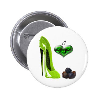 Love Lime Green Stiletto Shoe and Chocolates Art Pinback Buttons
