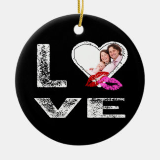 LOVE Lipstick Kisses with Heart Shaped Photo Double-Sided Ceramic Round Christmas Ornament
