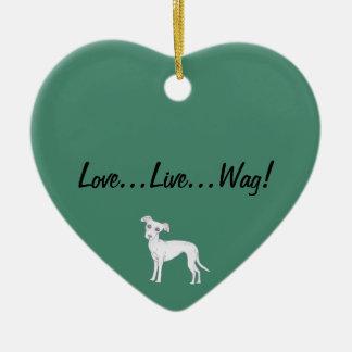 Love, Live, Wag! Ceramic Ornament