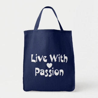 Love Live With Passion Attitude Motivational Heart Tote Bag