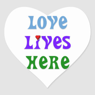 Love Lives Here Heart Stickers