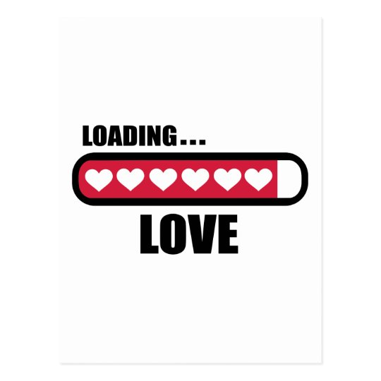 Love loading hearts postcard