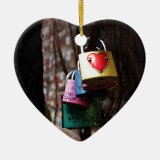 Love Locked Double-Sided Heart Ceramic Christmas Ornament