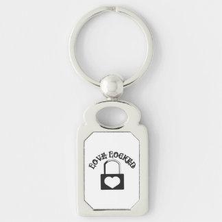 Love Locked Silver-Colored Rectangular Metal Keychain