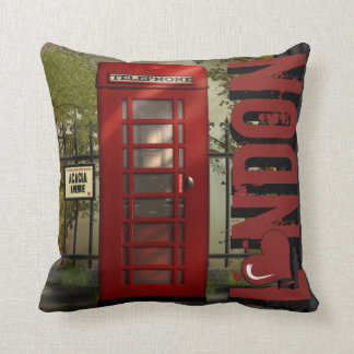 Love London Red Telephone Booth Throw Pillow