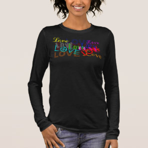 LOVE Long sleeved full size V-neck T Long Sleeve T-Shirt