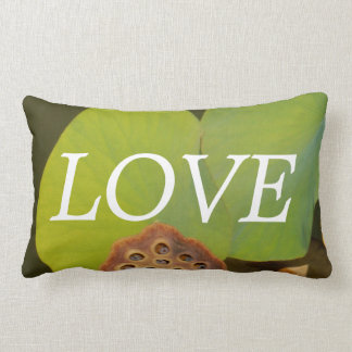 lOVE , lotus pod green Lilly pads inspiration Lumbar Pillow