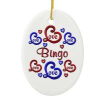 LOVE LOVE Bingo Ceramic Ornament